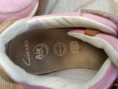 Girls Clarks Pink Leather Trainers Size 10 G