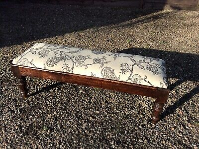 Antique Victorian Long John Upholstered Footstool Country Oak Turned Legs