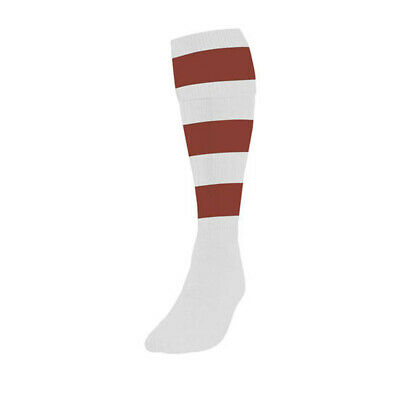 Precision Hooped Junior Adult Football Rugby Sport Socks (Pair) White/Maroon