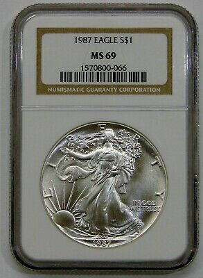 1987 - Silver American Eagle - NGC MS 69 - Brown Label