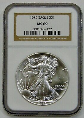 1989 - Silver American Eagle - NGC MS 69 - Brown Label