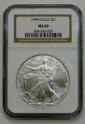 1996 - Silver American Eagle - NGC MS 69 - Brown Label