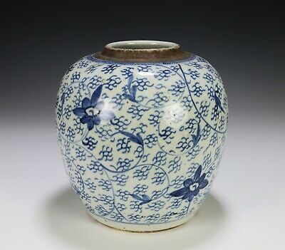 Antique Chinese Blue and White Porcelain Jar with Scroll Work and Flowers