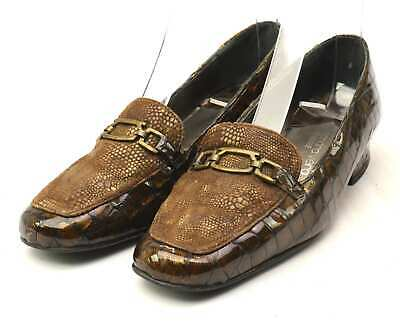 Nicole Womens EU Size 37 Brown Leather Loafer Shoes