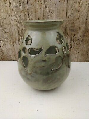 Lovely Hand Thrown Oak Tree Studio Art Pottery Large Table Candle Holder