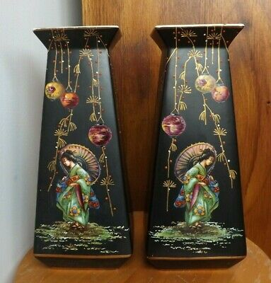 Pair of art nouveau Algiers,Made in England vases,decorated with Chinese ladies
