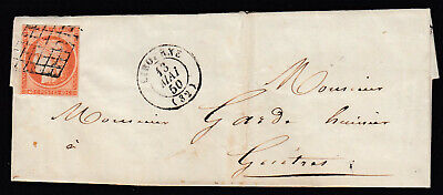 N°5 Grille Libourne Guitres Gironde 1850 Lettre Cover