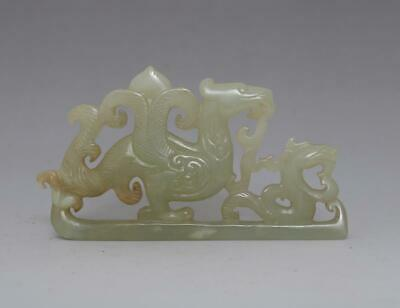 Perfect Chinese Carved Natural He Tian Jade  Pendant Statue Pen Holder (678)