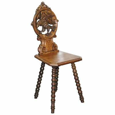 Rare 19Th Century Black Forrest Carved Hall Chair Hand Carved Hawk Bobbin Turned