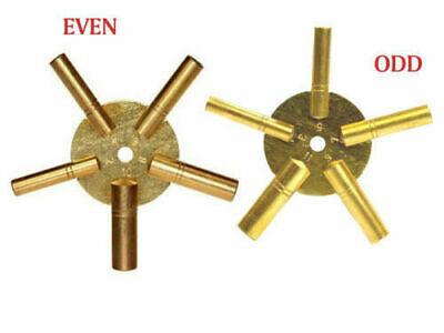 Universal Set of 2 Key BRASS Clock Winding Even & Odd Numbers Winder Mantle