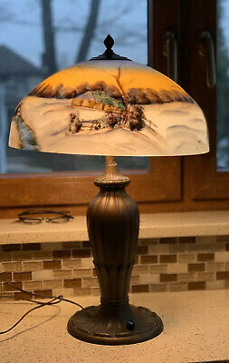 antique  pittsburgh Style Reverse Painted Lamp WINTER