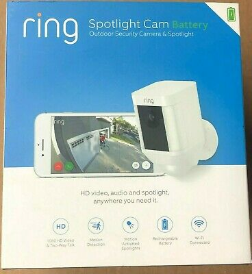 Ring - Spotlight Cam Wire-free Battery HD Security Camera,Two-Way Talk  SEALED
