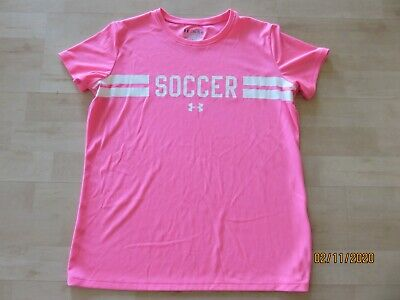 Girls UA Under Armour Soccer Shirt Top Youth XL Loose Fit Pink Short Sleeve EUC
