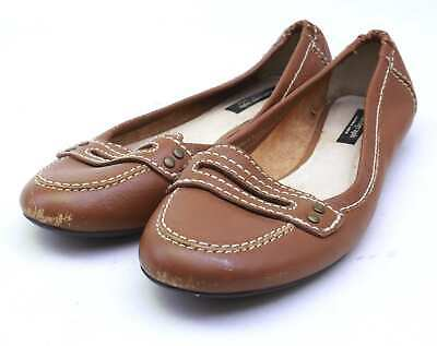 Autograph Womens UK Size 5 Brown Leather Loafer Style Shoes