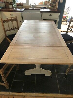 Antique Oak Extending Draw Leaf Refectory Kitchen Dining Table