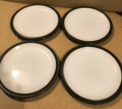 "4 x DENBY JET BLACK 10 1/2"" DINNER PLATES IN VERY GOOD CONDITION"