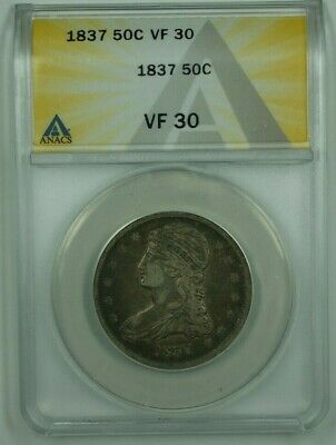 1837 Capped Bust Half Dollar ANACS VF-30 GR-18 *Great Circulation Cameo/Color!*