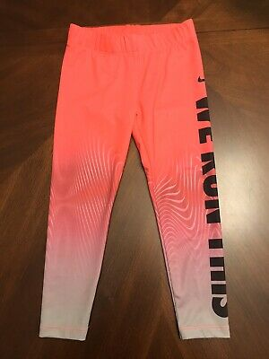 NIKE Girls  Printed Athletic Leggings Size 4 Pink And Gray We Run This