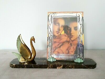 Original Art Deco Marble Photo Frame Spelter Swan - French 1930s