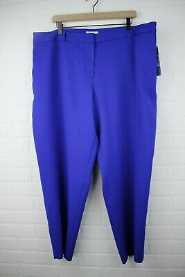 Tahari by ASL Womens Pants Blue Size 14W Dress Mid-Rise Crepe Stretch $99