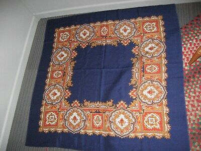 vintage square Navy blue with abstract design tablecloth / scarf