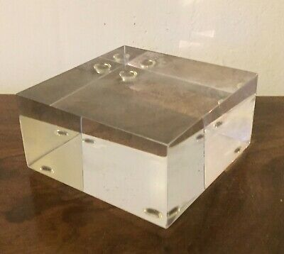 Vintage Lucite Acrylic Display Base Square Block Plateau Mid-Century Modern MCM