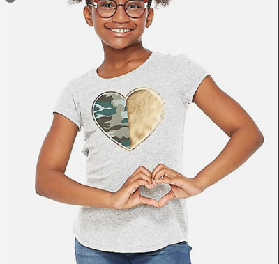 Justice Girls Size 12 Short Sleeve Foil Camo Heart Print Top Nwt