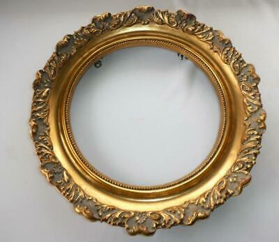 "Ornate Antique Vintage Gold Gilt Carved Wood Round Frame 12 1/2"" D"