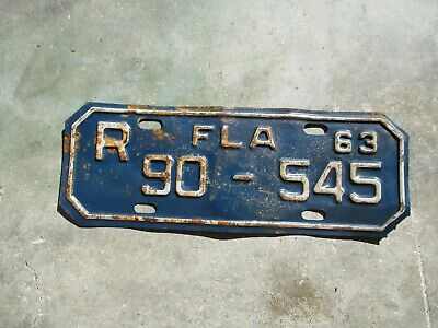 Florida 1963 Motorcycle license plate # 90 - 545