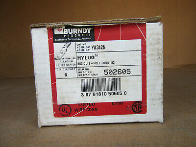 Qty. 6   Pieces Burndy HYLUG 502605 YA342N Brown Lug 500 CU 2 Hole Long 1/2