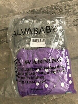 Alva Baby Washable Reusable Cloth Diapers Pocket 6 Pk + Inserts Adjustable NEW