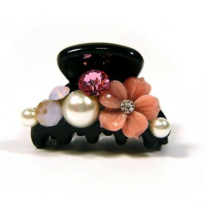 a Pair of Small Pink Flower Pearl Crystal Beaded Black Plastic Hair Claw Clamp