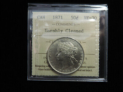 """1871 C/C 50 Cent Coin Canada Victoria VF-30 ICCS Repunched """"C"""" .925 Silver"""