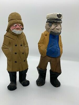 "TWO Sailor Sea Captain Fisherman Figurine Wooden Nautical 7"" Tall Hand Carved"