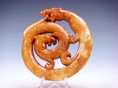 Old Nephrite Jade 2 Sides Carved LARGE Pendant Curly Dragon & Phoenix #08211906C
