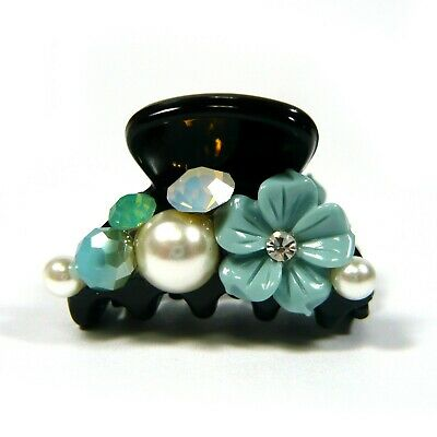 a Pair of Blue Flower Crystal Pearl Beaded Small Black Plastic Hair Claw Grip