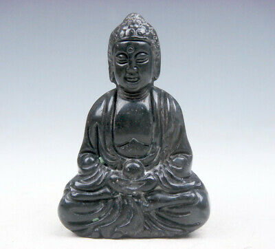 Old Nephrite Jade Carved Sculpture Shakyamuni Buddha Praying #10261711C