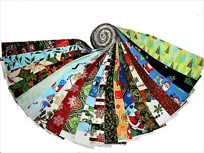 "20 2.5"" Christmas Quilting Fabric Jelly roll strips 20 Different Prints!! #1"