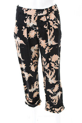 Scotch And Soda Womens Printed Wide Cropped Leg Pants Black Size Small 11153030