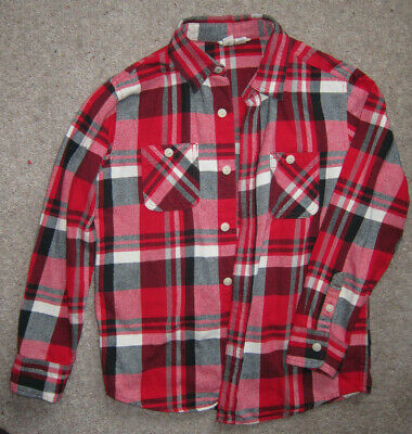 Lands End Red Plaid Brushed Cotton Casual Long Sleeved Shirt Boys Age 10-11 Year