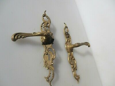 Vintage French Brass Lever Door Handles Knobs Gold Old Rococo Baroque Leaf