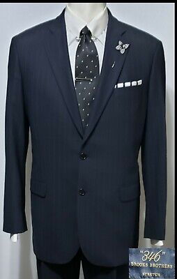 """Men's """"346"""" Brooks Brothers Stretch 2pc Suit 44L Gray Stripe Two Button Pleated"""