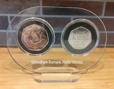 2020 Brexit 50p Coin and 1973 Entry Into Europe 50p Both Uncirculated With Frame