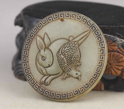 Old Chinese natural jade hand-carved rabbit and bird pendant