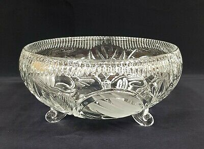 Vintage Leaded Cut + Frosted Glass Frosted 3 Footed Bowl 17 x 8 cm