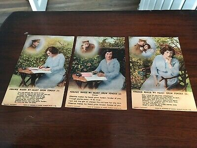 3 X WW1 Bamforth Song Cards - Absence Makes My Heart Grow Fonder  - 4858