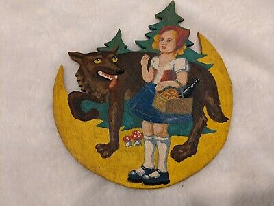 Vintage Little Red Riding Hood Wood Wall Hanging, Plaque, Fairy Tale