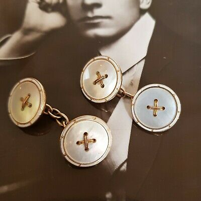Quality Antique  Art Deco Double Sided 9 Carat Gold Round Button Cufflinks