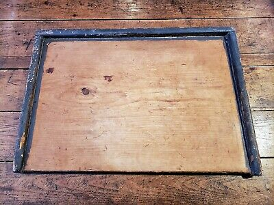 Early Original Square Nail Primitive Wood Noodle Bread Pastry Board Grey Paint