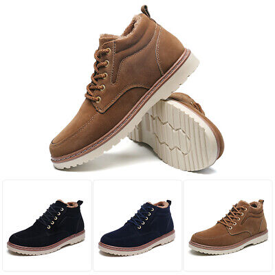Men's Outdoor Casual Shoes Lace up Plush Ankle Boot Winter Warm Shoes Round Toe